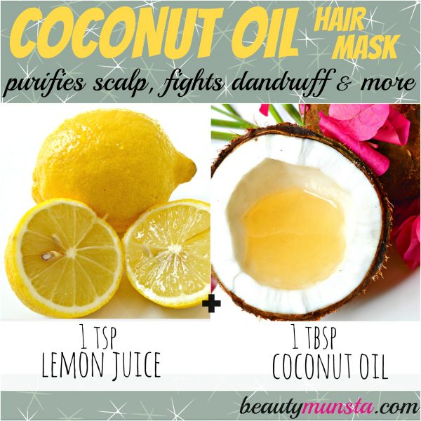 This refreshing coconut oil hair mask contains lemon which fights dandruff, eliminates greasy hair and leaves your hair feeling fresh and clean.