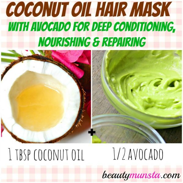 This ultra-nourishing coconut oil hair mask uses avocado to deep condition & hydrate hair.