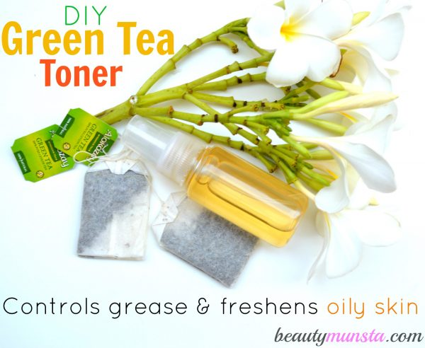 Learn how to make an easy DIY green tea toner for oily skin with this step-by-step tutorial!