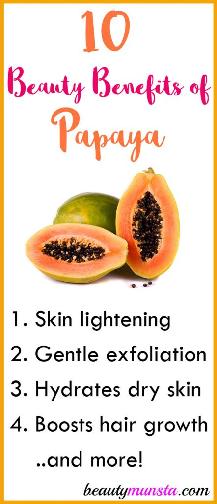 Find out 10 beauty benefits of papaya for skin & hair in this post!