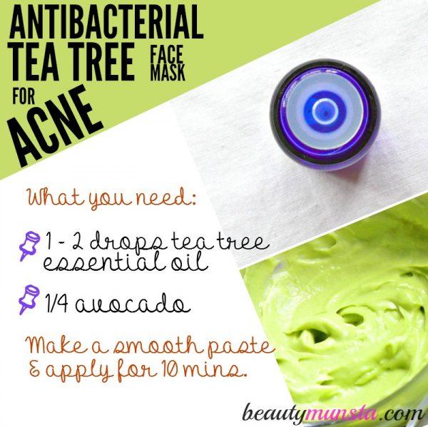 For dry, flaky acne-prone skin, use tea tree and avocado!