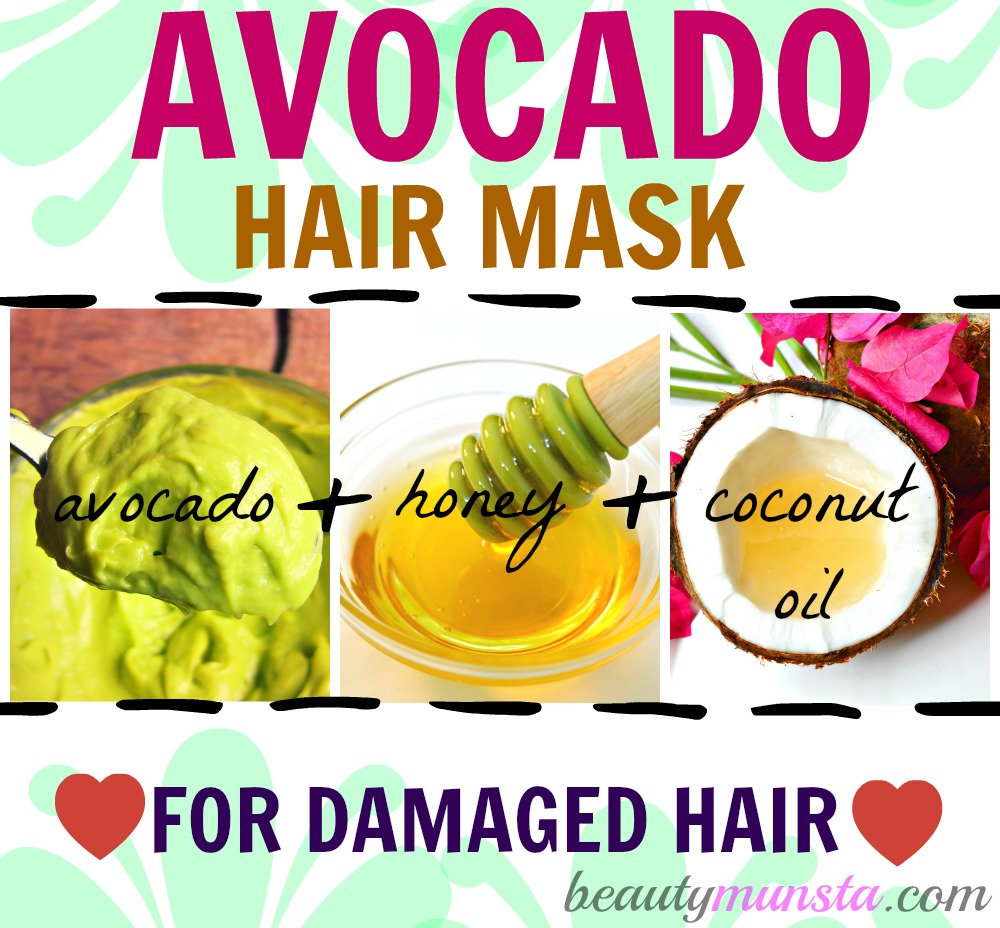 This avocado hair mask contains the goodness of avocado, honey and coconut oil to repair damaged & dry locks
