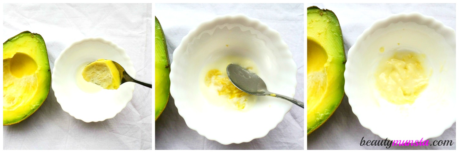 Mash up the avocado and mix well with yogurt