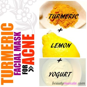 Turmeric + yogurt + lemon - whip them up to form one of the most effect homemade facial masks for acne