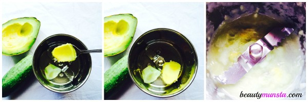 You will need a hand blender to make this face mask. If you don't have one, then blend a whole cucumber and use the excess to make a body mask