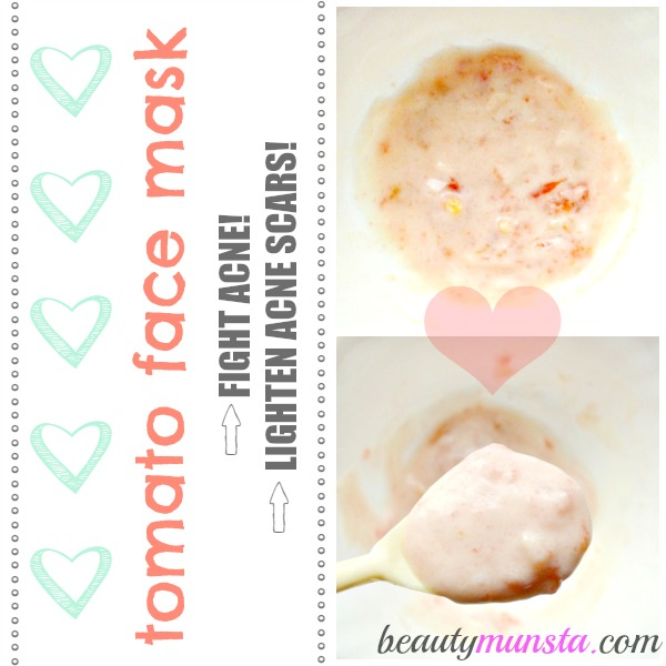 Make a creamy tomato face mask with yogurt to soothe and calm your acne