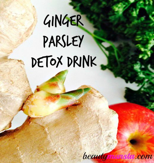 Learn how to make a zingy Ginger Parsley detox drink by following this easy green juice recipe for Skin & beauty!