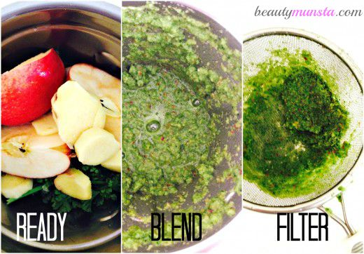 Blend away and filter out excess fiber.