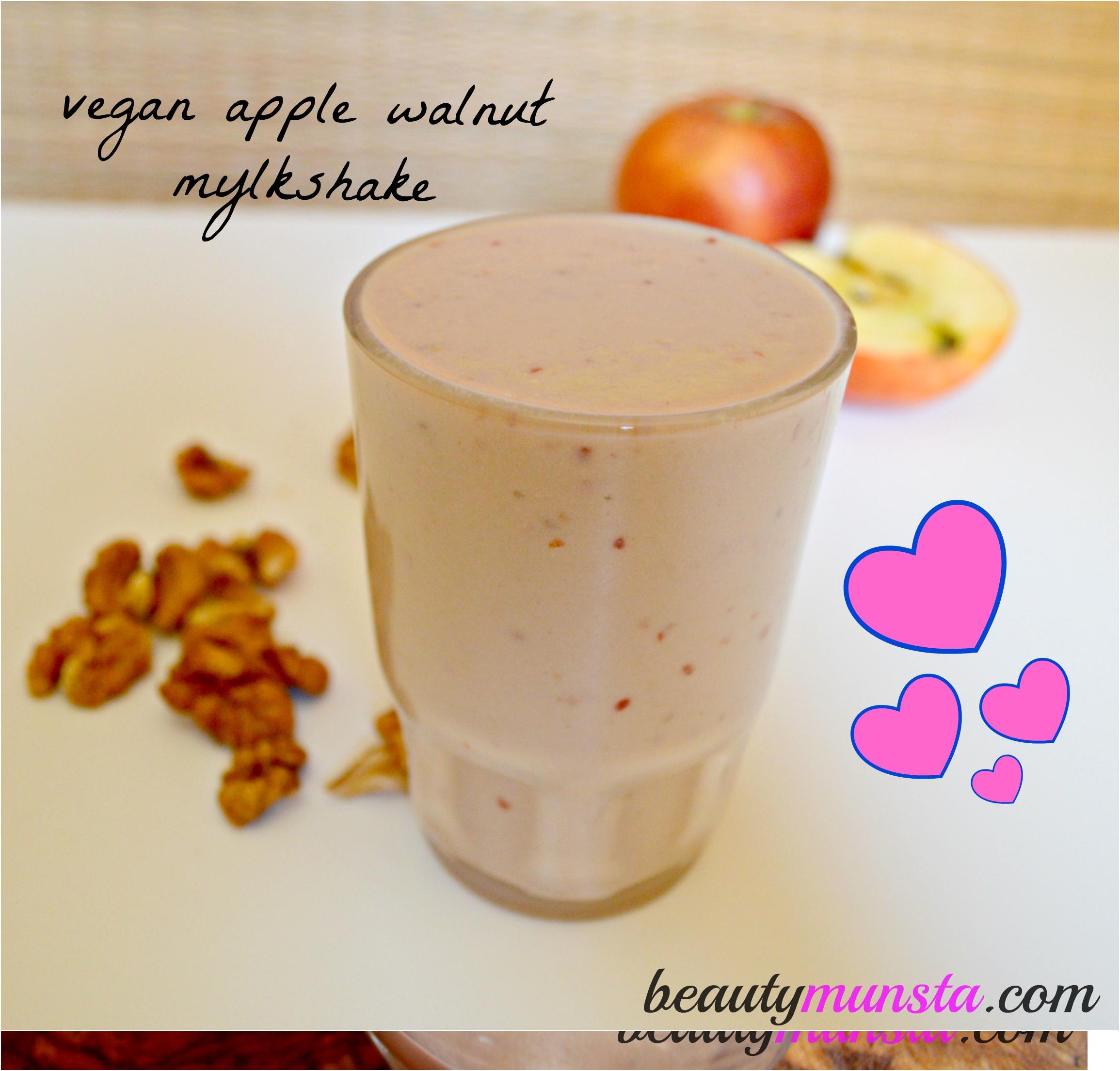 Thick & creamy: Vegan apple walnut milkshake!