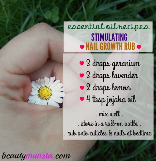 Here's my favorite essential oil recipe for strong, long and healthy nails!