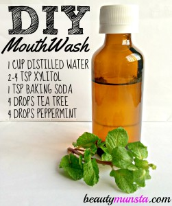 Ingredients in this mint tea tree mouthwash recipe