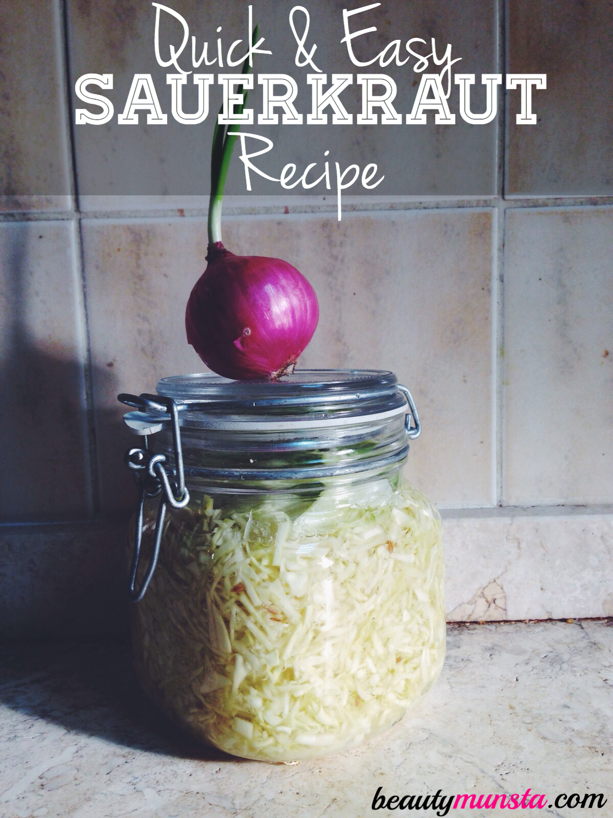 Make traditional German probiotic-rich sauerkraut in a mason jar at home with this quick and simple recipe!