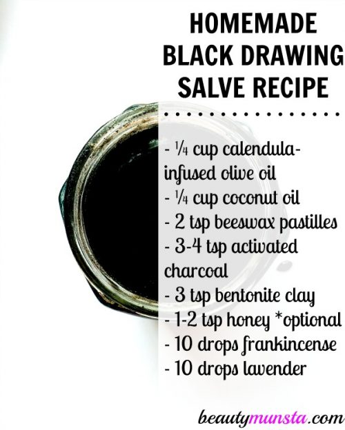 Ingredients needed to make this black drawing salve