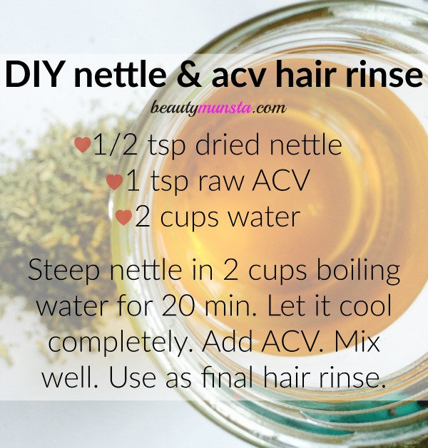 Make your own nettle hair rinse with a splash of raw apple cider vinegar to remove product build-up and promote shiny locks!
