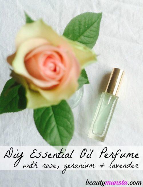 Essential oil perfume spray recipe with rose, geranium & lavender