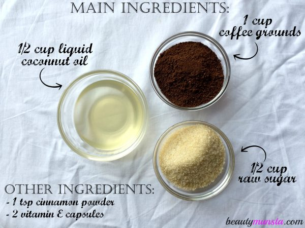 There are the main ingredients for a DIY Coffee Scrub for Cellulite
