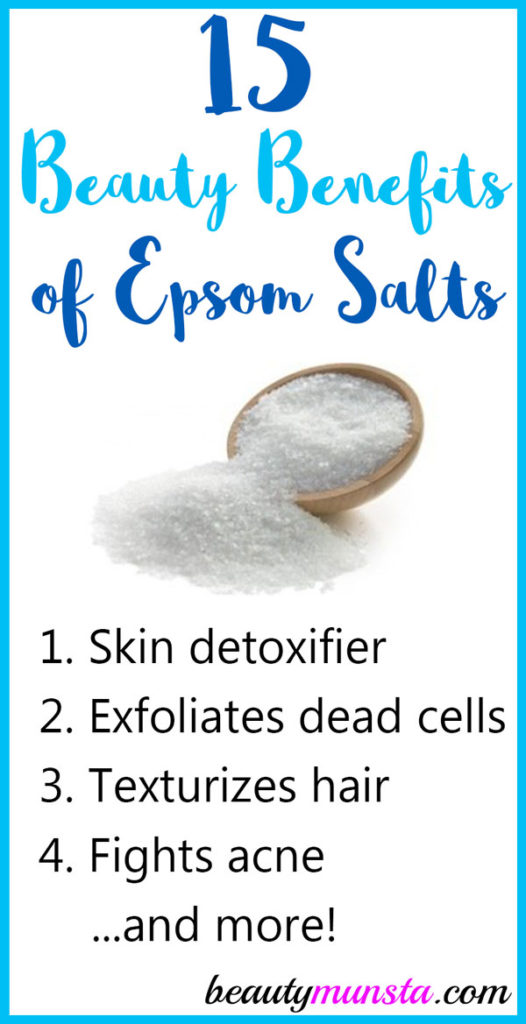 Below, let's explore 15 beauty benefits of Epsom salts for skin, hair and more: