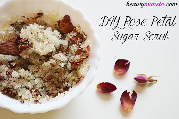 diy rose coconut oil sugar scrub
