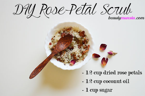 diy rose petal coconut oil sugar scrub
