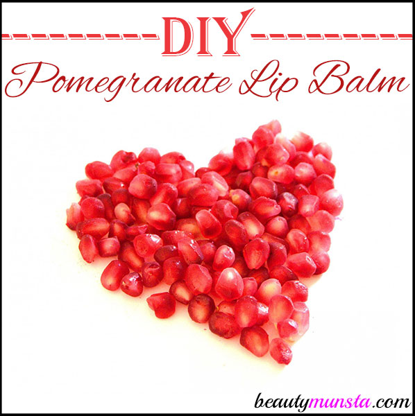 Make a nourishing pink colored diy pomegranate lip balm at home