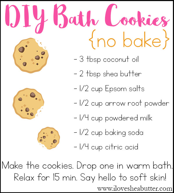 Make your own DIY no bake bath cookies with shea butter!