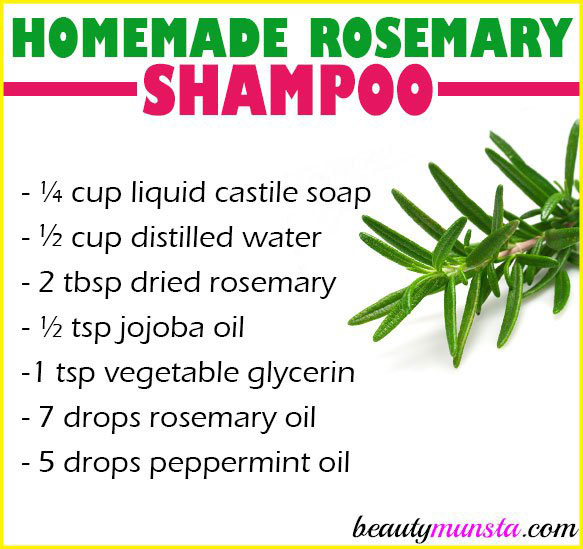 Make yourself a bottle of homemade rosemary shampoo for hair growth, itchy scalp and other benefits!