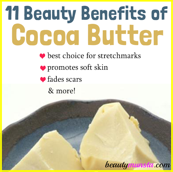Find out 11 delicious beauty benefits of cocoa butter! From removing stretch marks to promoting silky skin!