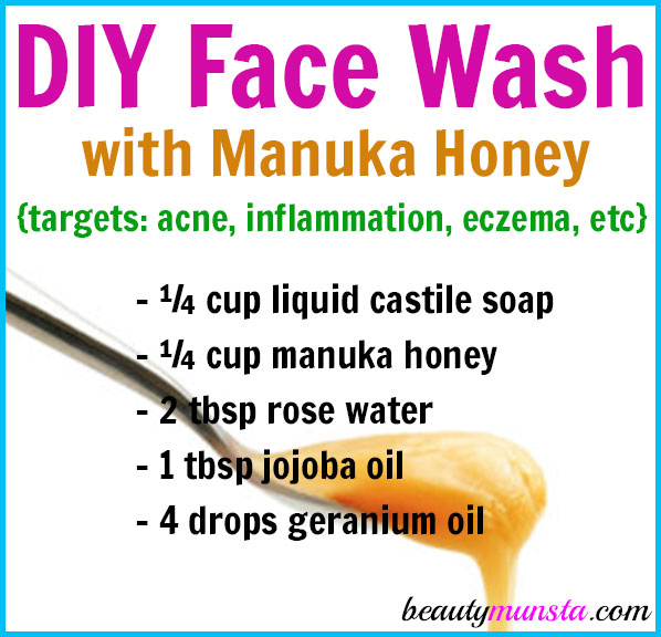 Learn how to make a DIY manuka honey face wash in this post. You'll find two recipes: one for a foaming face wash and another a non-foaming face wash!
