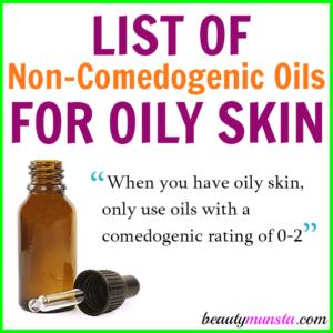 List of Non-Comedogenic Oils for Oily Skin