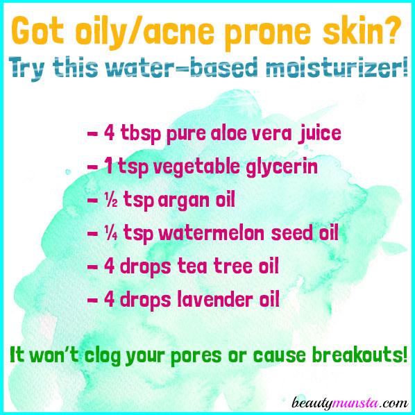 Make a DIY aloe vera juice moisturizer for your oily/acne prone facial skin