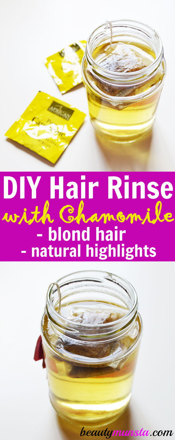 Try out this simple homemade chamomile hair rinse for blonde hair and natural highlights!