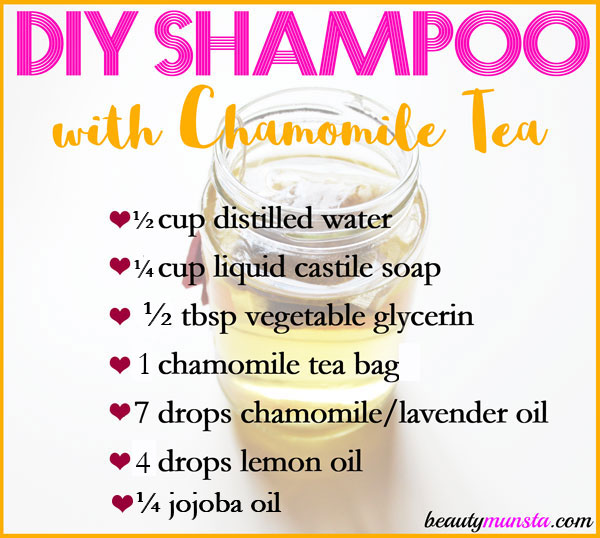 Make yourself a nice and soothing DIY chamomile shampoo for your scalp and hair!