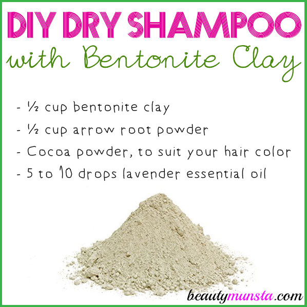 Make a DIY dry shampoo with bentonite clay for clean, non-oily and silky soft hair!</