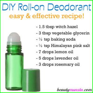 DIY Roll On Deodorant with Witch Hazel, Vegetable Glycerin & Lemon