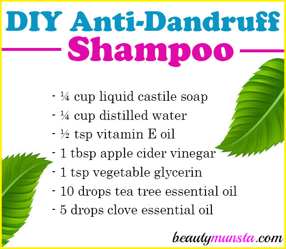 Got dandruff? Try making this DIY anti-dandruff shampoo with tea tree oil and other natural de-flaking ingredients!