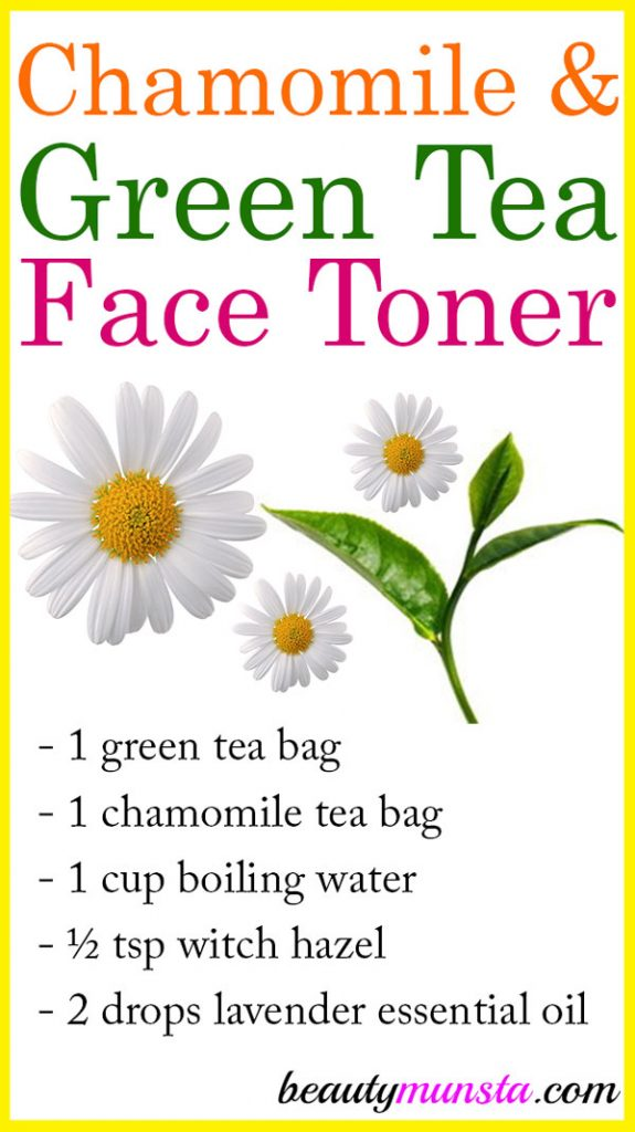 Try this chamomile and green tea toner as a natural homemade skin toning & firming remedy!