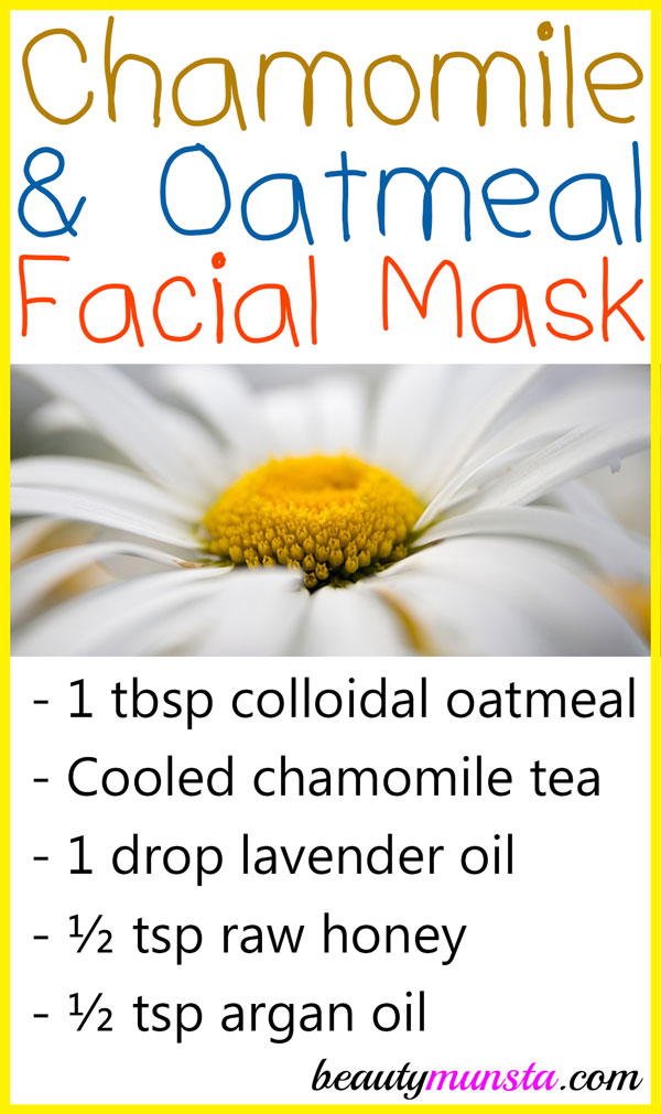 A chamomile oatmeal face mask is just what you need to soothe your skin and hydrate dry skin cells!
