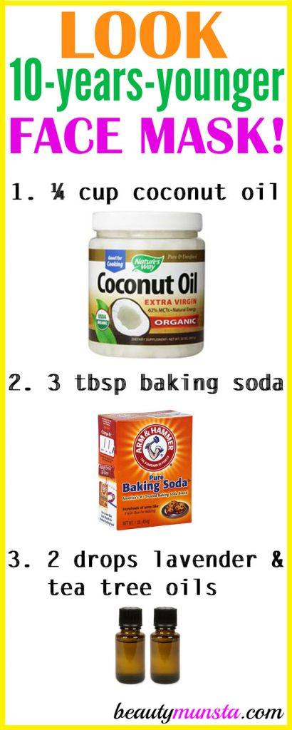 Do you want to look 10 years younger?! Try using coconut oil and baking soda for wrinkles 3 times a week!