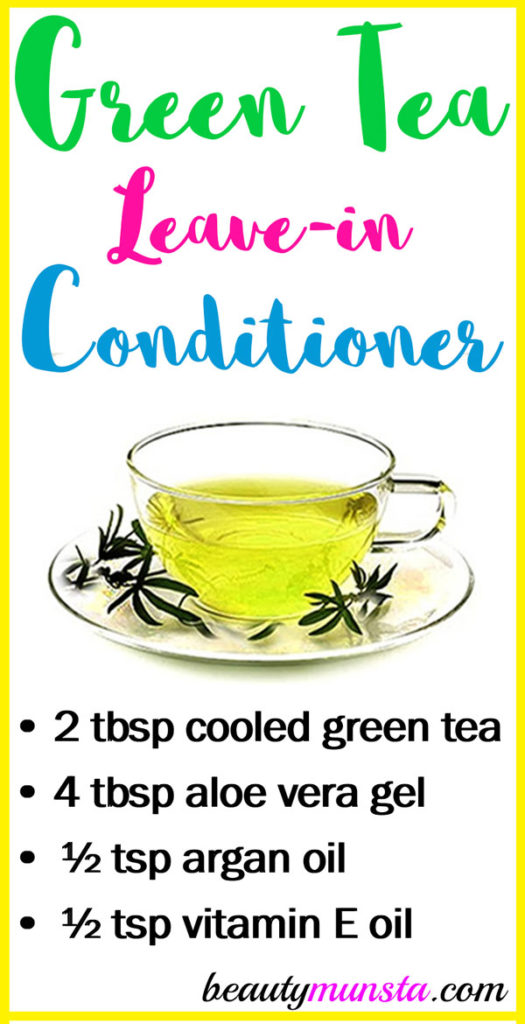 Check out this lovely green tea leave-in conditioner recipe!