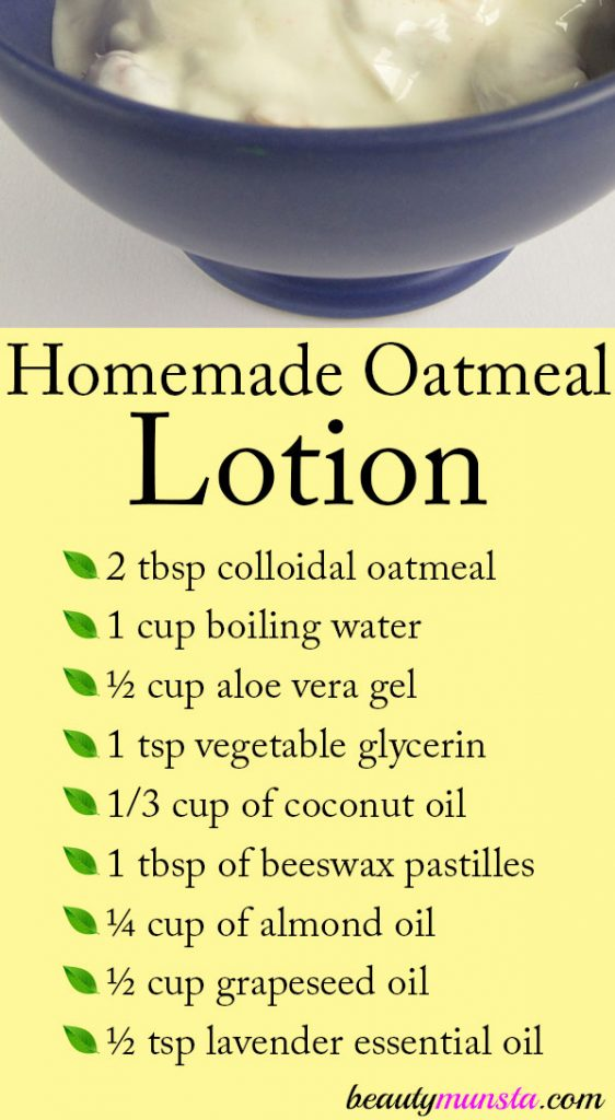A homemade oatmeal lotion can be extremely soothing for sensitive skin types!