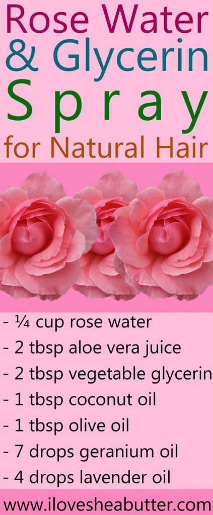 Rose water and glycerin for natural hair, oh yeah baby! It's refreshing, hydrating and smells so good!