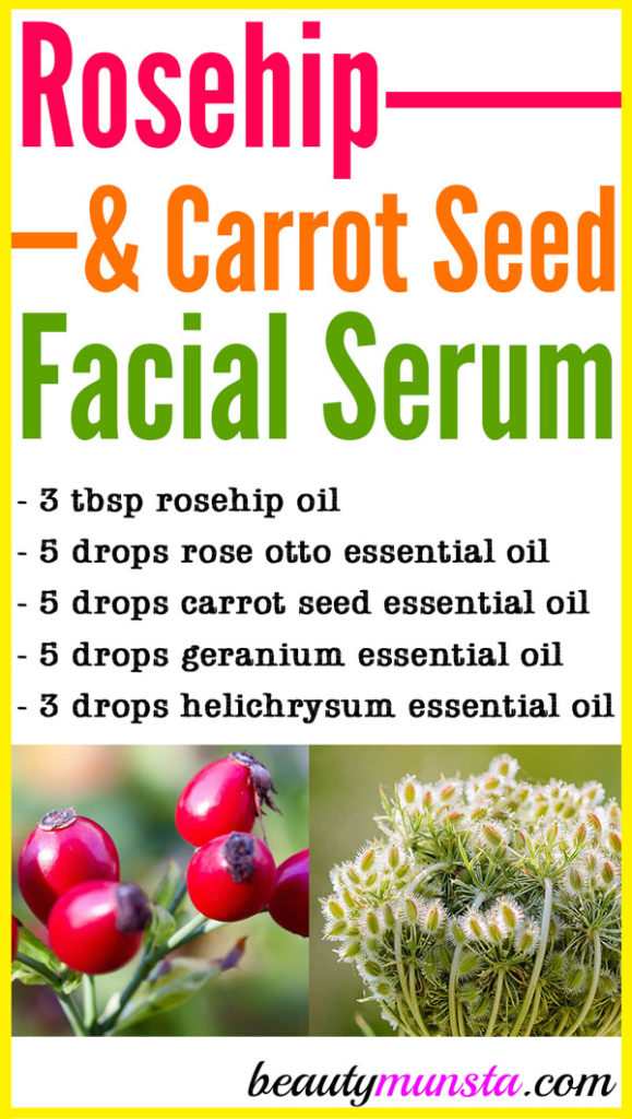 One of the most popular DIY anti-aging skin care products you can make at home is this rosehip and carrot seed oil facial serum!