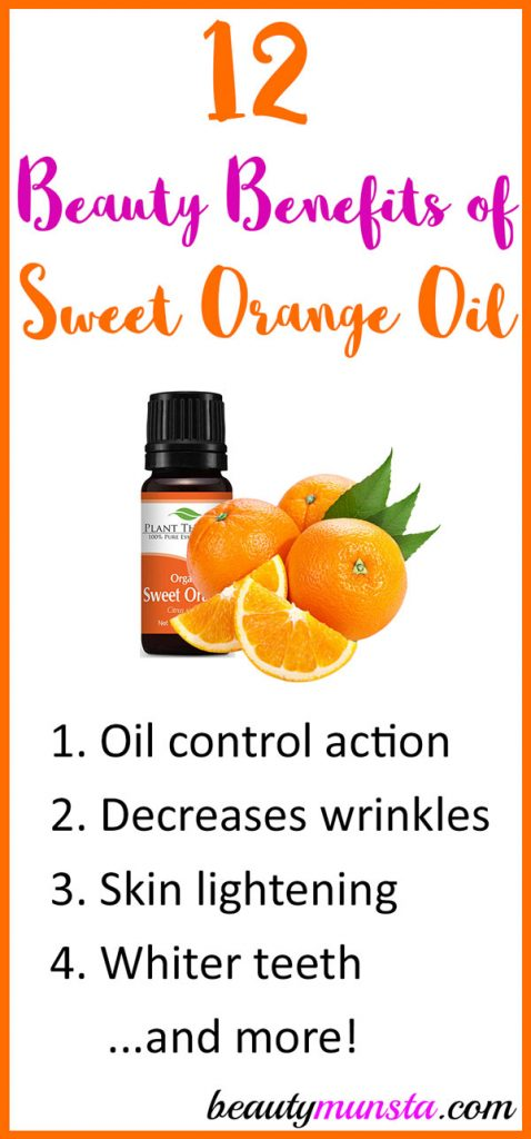 In aromatherapy sweet orange essential oil is best known for its mood lifting properties. But did you know that it also has extraordinary beauty benefits! Let's discover 12 beauty benefits of sweet orange essential oil for skin, hair & more in this post!