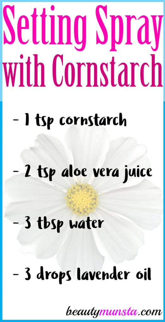 Keep your makeup face matte with a DIY makeup setting spray with cornstarch!