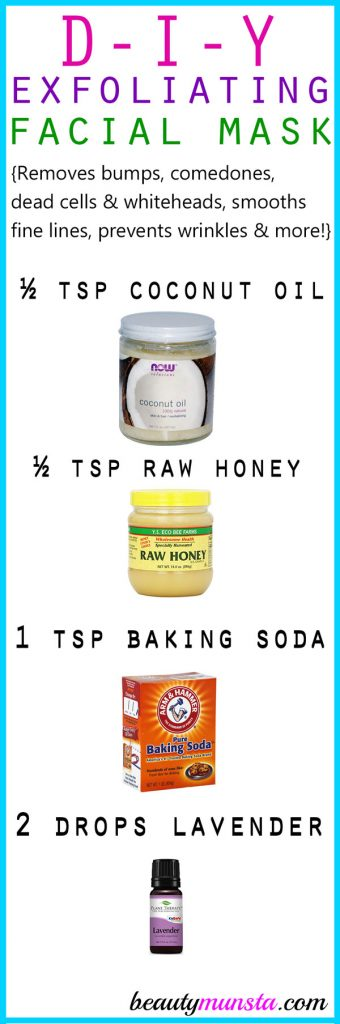 Try this face mask with coconut oil and baking soda plus lavender essential oil to exfoliate your skin naturally!