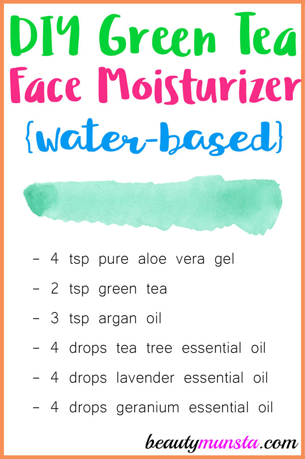 Make this easy water-based green tea face moisturizer suitable for oily and acne prone skin!