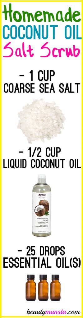 Make a homemade salt scrub with coconut oil for clear glowing skin!