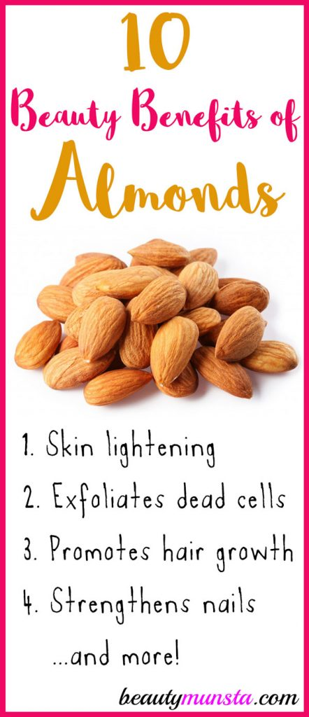 Do you love munching on almonds? Then you'll be more than happy to read these 10 beauty benefits of almonds for your skin, hair & more!