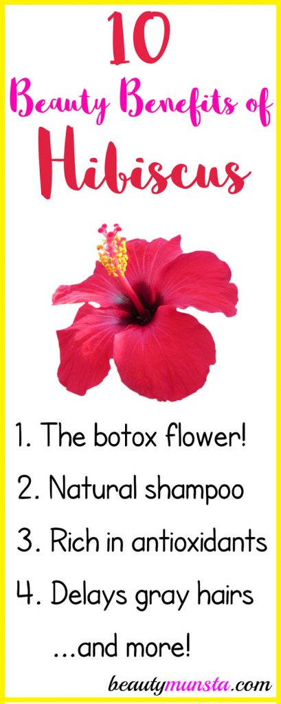 Below are 10 stunning beauty benefits of hibiscus for your skin, hair & more!